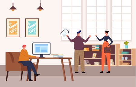 Office people characters life concept. Vector flat cartoon graphic design illustration