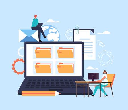 File organization paperwork database concept. Vector flat cartoon graphic design illustration Ilustração