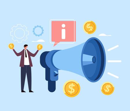 Business marketing megaphone strategy money concept. Vector flat cartoon graphic design illustration Ilustração
