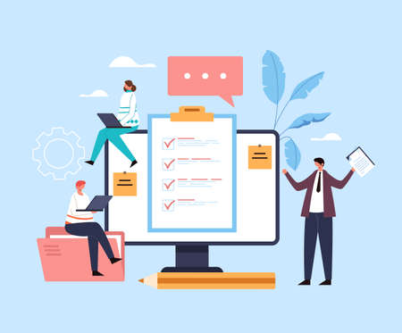Online question analysis questionnaire opinion test choice online web internet service concept. Vector flat graphic design illustration Ilustração