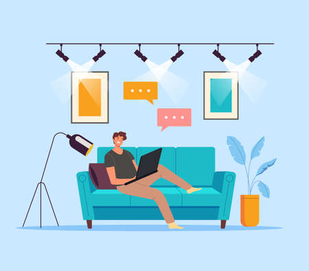 Man worker student laying on sofa and working at computer concept. Vector flat cartoon graphic design illustration