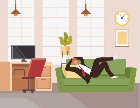 Businessman office worker man character sleeping on sofa during working day. Vector flat cartoon graphic design illustration Ilustração