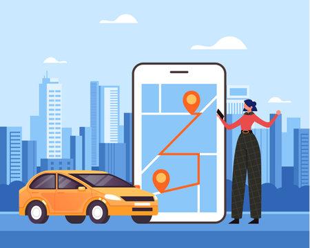 Woman traveler character making order by taxi mobile internet online app and waiting car. Vector flat graphic design illustration Ilustração