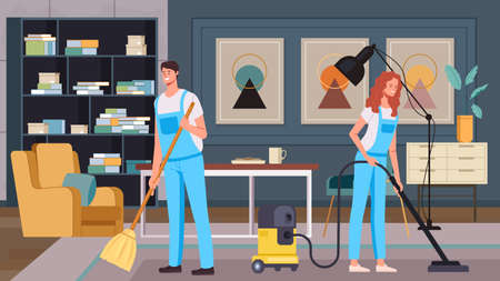 Man woman workers character washing flat. Cleaning service housekeeping concept. Vector flat graphic design illustration