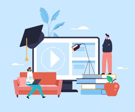 Online internet education concept. Vector flat cartoon graphic design illustration