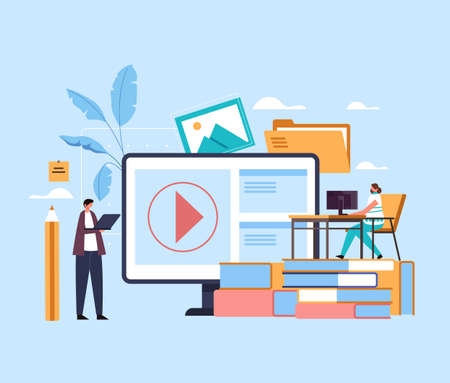 Online web internet education lessons tutorial courses studying concept. Vector flat graphic design illustration