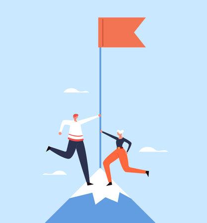 Teamwork goal target management office business. Gender equality concept. Vector flat graphic design illustration