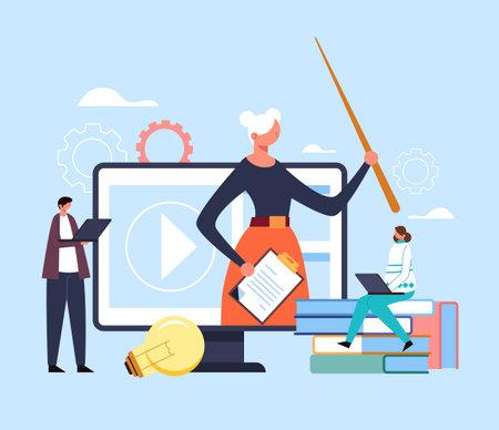 Educational web learning seminar digital tutorial webinar concept. Vector flat graphic design illustration Ilustração