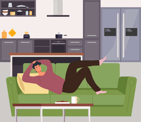 Man character laying on sofa home and relaxing. Vector flat cartoon graphic design illustration Ilustração