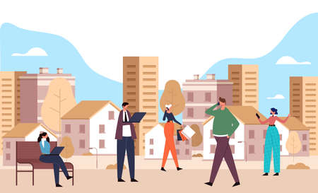 Smart city and people using phone and laptop concept. Vector flat cartoon graphic design illustration