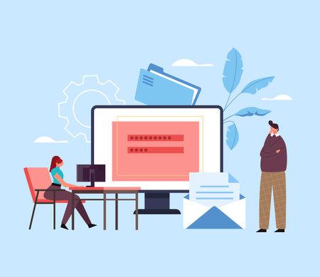 Service login password safety access concept. Vector flat graphic design illustration Ilustração