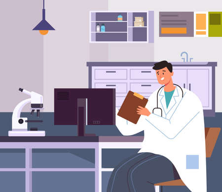 Doctor man character sitting in office workplace and using computer learning test results. Vector flat graphic design illustration