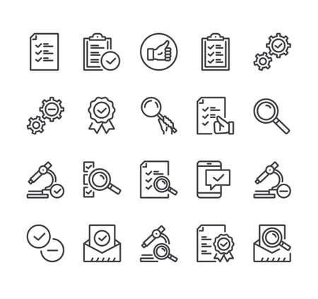Check testing tick examination approve checkmark. Flat lined thin isolated icon set