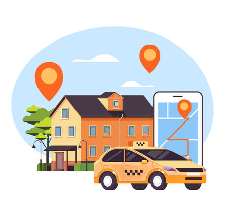 Yellow taxi car cab standing near house door and waiting. Public city transportation taxi mobile app phone map concept. Vector flat graphic design illustration