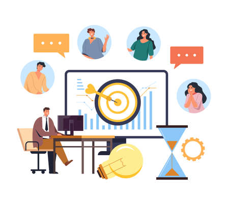 Boss coach mentor talking online internet web business conference. Business web learning tutorial concept. Vector flat graphic design illustration