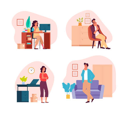 People man woman characters stay home and dreaming thinking concept. Vector flat graphic design illustration set