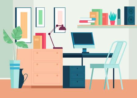Home workplace interior furniture living room concept. Vector cartoon flat graphic design illustration Vector Illustration