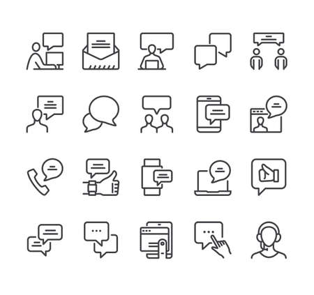 Communication speech bubble isolate icon line thin icon set