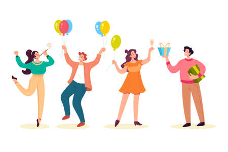 Happy people dancing smiling giving gifts and celebrate holydays isolated set. Vector flat graphic design illustration Illustration