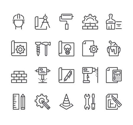 Construction house project development isolated line thin icon set Illustration