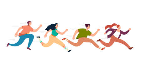 People man womwn students office workers running isolated set. Vector flat graphic design illustration
