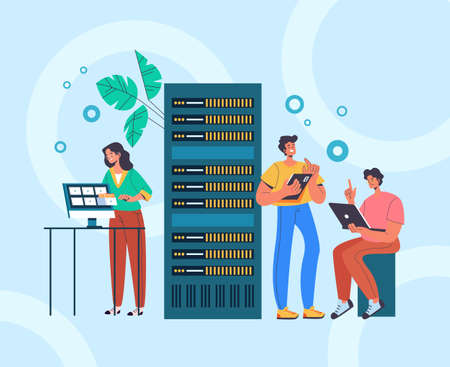System administrator service teamwork concept. Vector flat graphic design illustration
