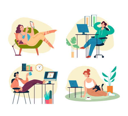 People workers students working, studing and relaxing in comfortable conditions in home interiors set. Vector flat graphic design illustration Illustration