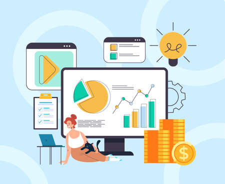 Online finance analytics home accounting freelance work concept. Vector flat graphic design illustration