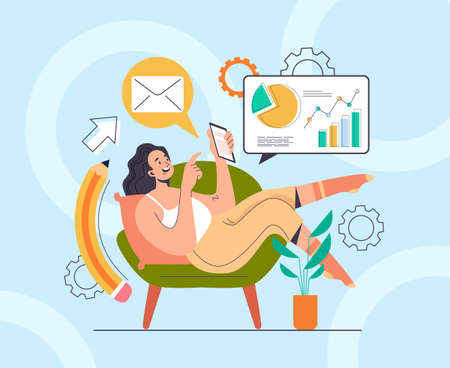 Woman girl freelancer character laying on sofa and searching new business project ideas concept. Vector flat graphic design illustration