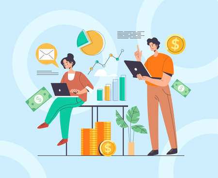 Accountant business people workers characters team concept. Vector flat graphic design illustration