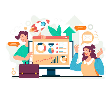 Business analytics teamwork statistic research concept. Vector flat graphic design illustration