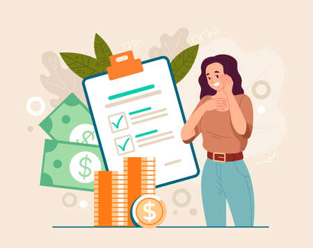 Tax waiting passive increase money compensation concept. Vector flat graphic design illustration Illustration