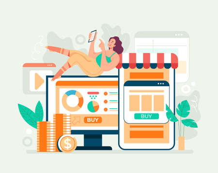 Online web internet shopping trading e commerce concept. Vector flat cartoon graphic design illusration