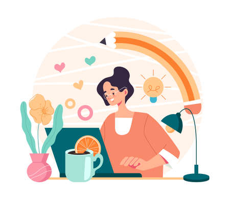 Digital artist designer freelancer woman worker character sitting at computer and drawing. Vector cartoon flat graphic design illustration Illustration