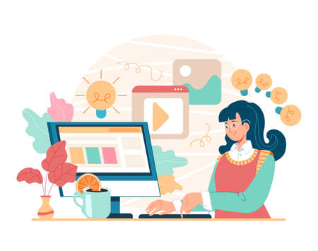 Woman girl character user sitting home at computer and serching information. Online internet searching researching using computer concept. Vector cartoon flat graphic design illustration