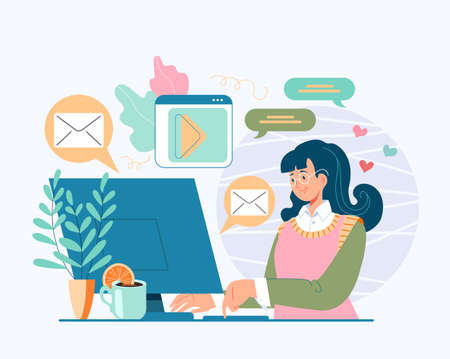 Woman girl teen character sitting on computer and communicate with friends. Online internet social media concept. Vector cartoon flat graphic design illustration
