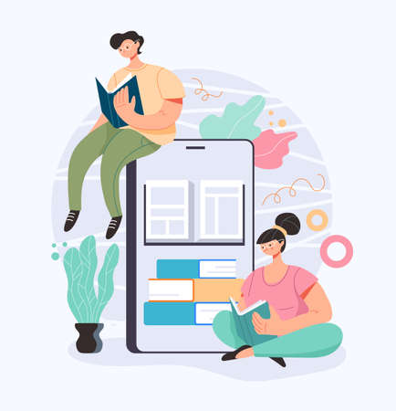 People man woman characters student reading book by smartphone. Internet online education concept. Vector cartoon flat graphic design illustration