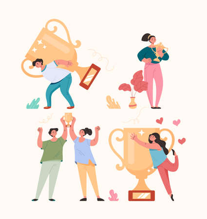 Winners people man woman characters holding golden cup and celebrating concept. Vector cartoon flat graphic design illustration set Illustration