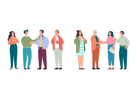 Business man woman team colleagues congratulates colleague. Career rise development success concept. Vector flat graphic design illustration Illustration