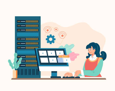System administrator service concept. Vector flat graphic design illustration