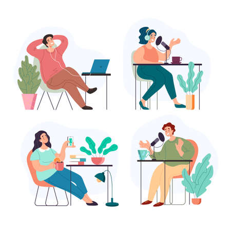 People man woman characers listening and recording audio podcast blogging interview podcasting concept. Vector flat graphic design illustration Illustration
