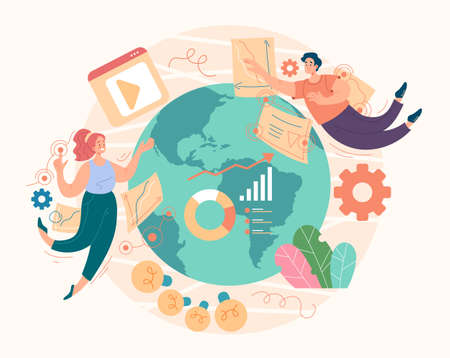Seo digital global marketing management social media concept. Vector flat graphic design illustration Illustration