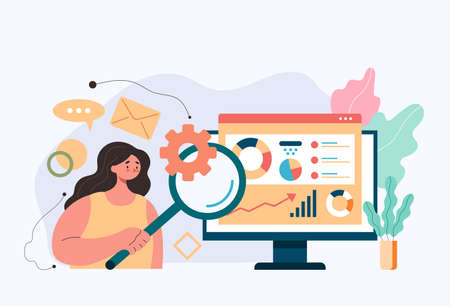 Woman office worker character searching information by internet. Online finance analytics searching information accounting concept. Vector flat simple graphic design modern style illustration