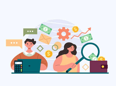 People workers man woman characters counting business profit. Accountant business people workers characters team concept. Vector flat graphic design illustration Illustration