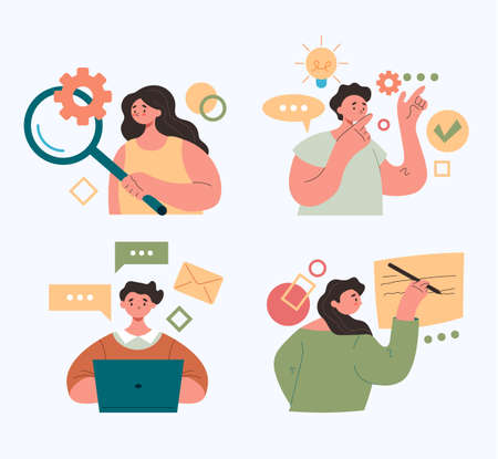 People office workers characters working by internet online. Abstract vector modern style flat simple graphic design illustration set