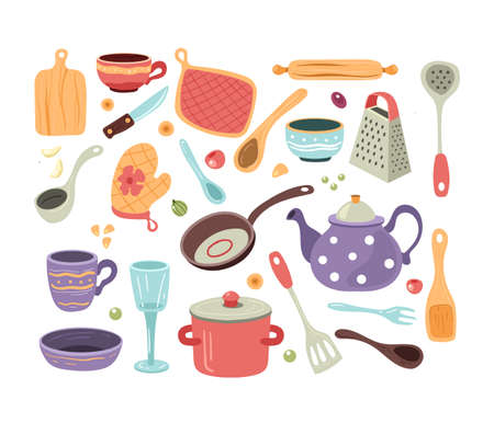 Set of hand drawn doodle sketch kitchen utensils