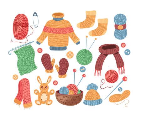Set of knit handmade woolen clothes