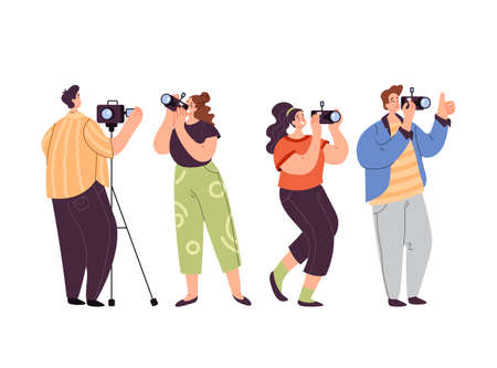 People man woman operator journalist paparazzi taking photo picture isolated set. Vector flat graphic design modern style illustration 向量圖像
