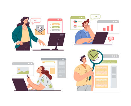 People office workers characters analyzing and auditing business processes isolated set. Vector flat graphic design modern style illustration 向量圖像