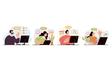 People man woman operator workers giving online consultation. Hotline support call center concept. Vector flat graphic design modern style illustration 向量圖像